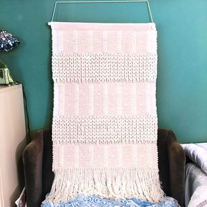 Anthropologie Large Pink Woven Knit Tapestry